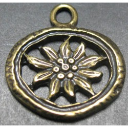 Charms  edelweiss vieux bronze 22mm