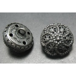 Bouton style Turquie vieil argent 18mm