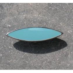 Bouton métal argent turquoise 30mm