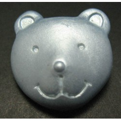 Bouton ours bleu nacré 25mm