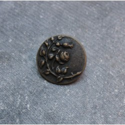 Bouton branche fleur vieil or 22mm