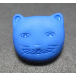 Bouton chat bleu 14mm