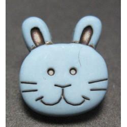 Bouton lapin gris bleu 13mm