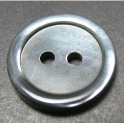 Bouton nacre trocas grise 16mm