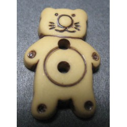 Bouton chat beige 21mm