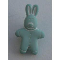 Bouton lapin vert d'eau 18mm