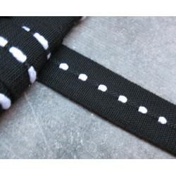 Ruban noir ligne blanche 25 mm