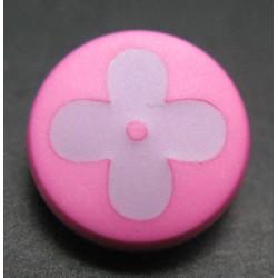 Bouton fleur rose lavande 15mm