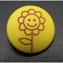 Bouton fleur tournesol jaune rouge 15mm