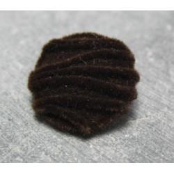 Bouton velours ligné marron 22mm