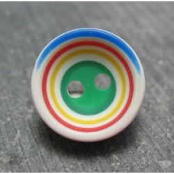Bouton bayadère base verte 15mm