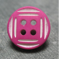 Bouton fuschia trait blanc 15mm