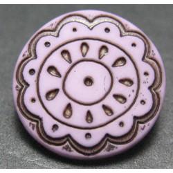 Bouton fleur arabesque vieux rose 15mm