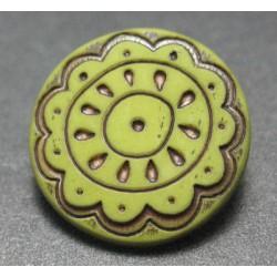 Bouton fleur arabesque vert 15mm