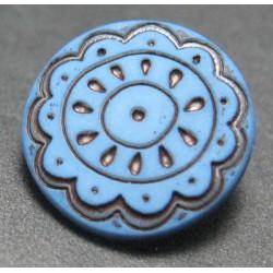 Bouton fleur arabesque bleu 15mm