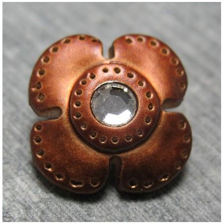 Bouton fleur rouille strass  16mm