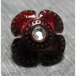 Bouton fleur rubis strass 14mm