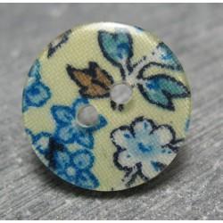 Bouton fleur bleu sublimation 19mm
