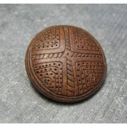 Bouton aborigene  marron 31mm