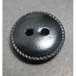 Bouton cuir noir 18mm