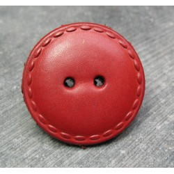 Bouton cuir rouge 36mm