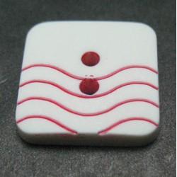 Bouton vague blanc rouge 15mm