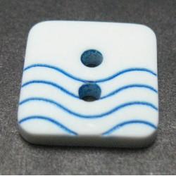 Bouton vague blanc bleu  12mm