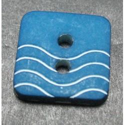 Bouton vague bleu pétrole  12mm