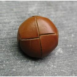 Bouton cuir marron clair 16 mm