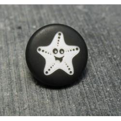 Bouton étoile de mer smile noir 15mm