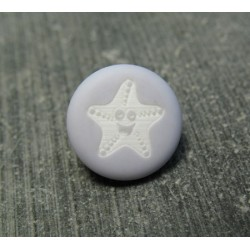 Bouton étoile de mer smile gris bleu 13mm