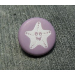 Bouton étoile de mer smile violine 15mm
