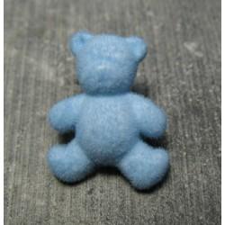 Bouton ours floqué velours bleu ciel 24mm