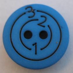 Bouton 123 bleu vif 15mm