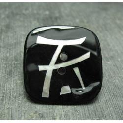 Bouton nacre carré laser noir 30 mm