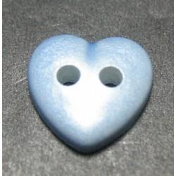 Bouton coeur bleu nacre 11mm