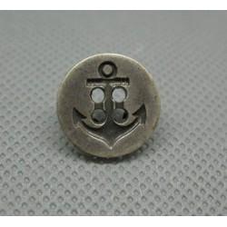 Bouton ancre vieil argent 15mm