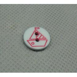Bouton voilier gris rouge 12mm