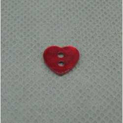Bouton nacre coeur rouge 10mm