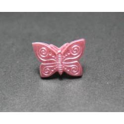 Bouton papillon rose 13mm