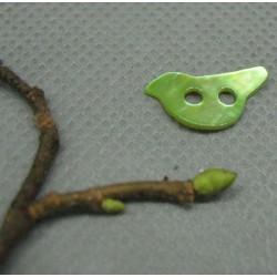 Bouton nacre oiseau vert anis 15mm