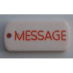 Bouton sequin message orange blanc 25mm