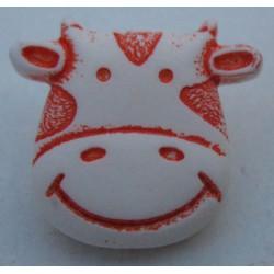Bouton vache blanche orange 17mm