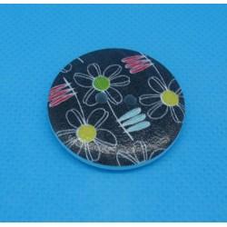 Bouton bois fleur noir 30mm
