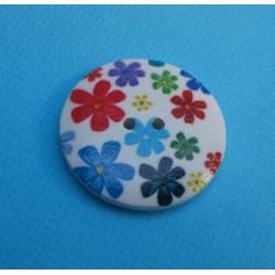 Bouton bois fleur multicolores 30mm
