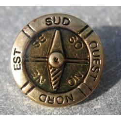 Bouton boussole or effet loupe 18mm