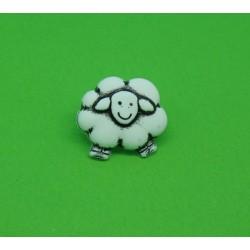 Bouton mouton blanc 16mm