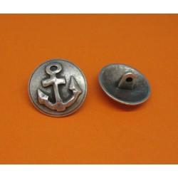 Bouton ancre relief vieil argent 19mm