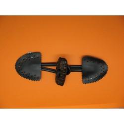 Brandebourg noir buchette résine imitation cuir marron 50 mm