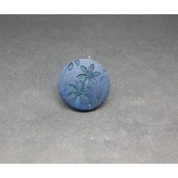 Bouton bois gravé fleur marine 22mm